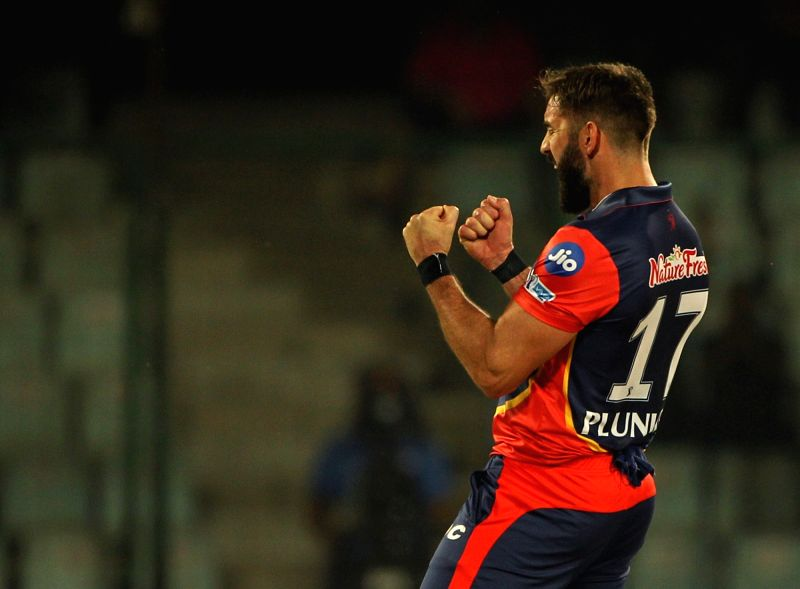 Delhi Daredevils' Liam Plunkett celebrates fall of Lokesh Rahul's wicket during an IPL 2018 match between Kings XI Punjab and Delhi Daredevils at Feroz Shah Kotla, in New Delhi on April ... - Lokesh Rahul and Feroz Shah Kotla