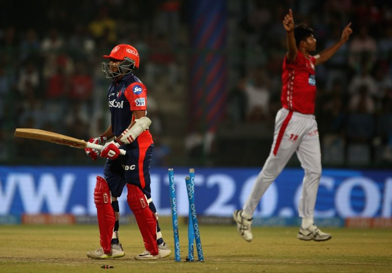 Delhi Daredevils' Prithvi Shaw walks back to the pavilion after getting dismissed during an IPL 2018 match between Kings XI Punjab and Delhi Daredevils at Feroz Shah Kotla, in New Delhi on ... - Feroz Shah Kotla