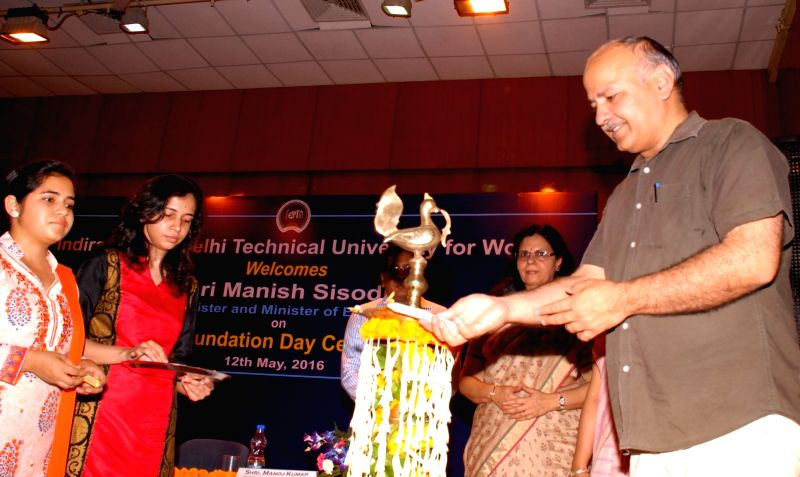 Delhi Deputy Chief Minister Manish Sisodia inaugurates the Incubation Centre, Anveshan of Indira Gandhi Delhi Technical University for Women (IGDTUW) in New Delhi, on May 12, 2016. - Manish Sisodia