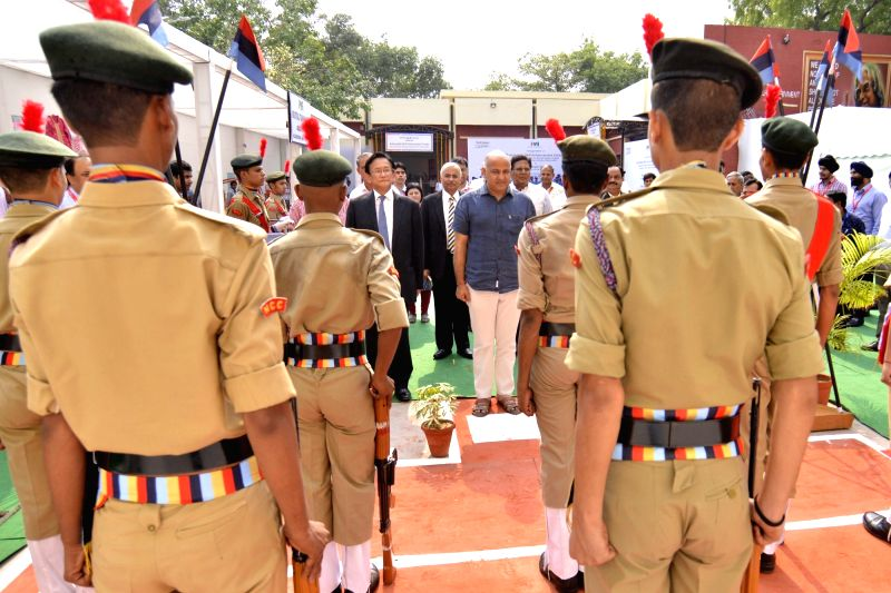 Delhi Deputy Chief Minister Manish Sisodia inspect guard of honour by NCC cadets at Automobile Enhancement Centre of ITI Nizamuddin in New Delhi on May 25, 2017. - Manish Sisodia