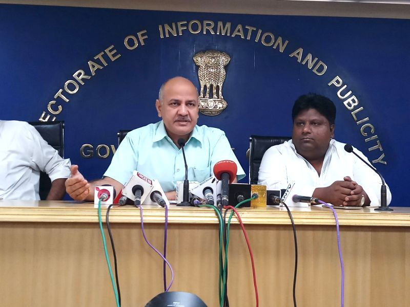 Delhi Deputy Chief Minister Manish Sisodia addresses a press conference in New Delhi on April 13, 2018. - Manish Sisodia