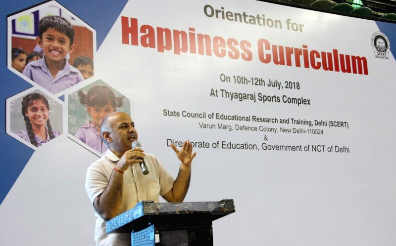Delhi Deputy Chief Minister Manish Sisodia addresses at a three-day orientation session organised for teachers on the intent and content of Delhi Government's Happiness Curriculum, in New ... - Manish Sisodia