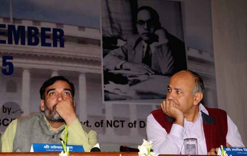 Delhi Deputy Chief Minister Manish Sisodia and Transport Minister Gopal Rai during an AAP meeting in New Delhi, on Nov 26, 2015.