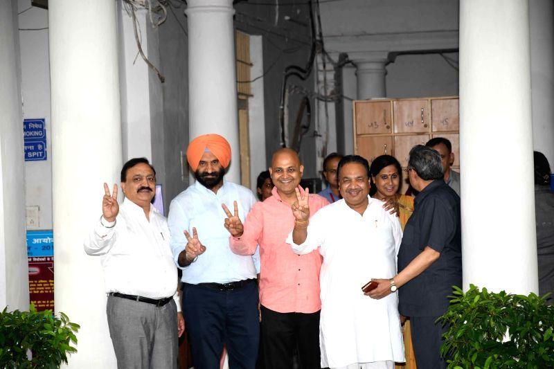 Delhi legislators after casting their vote during presidential polls at Delhi Assembly in New Delhi on July 17, 2017.