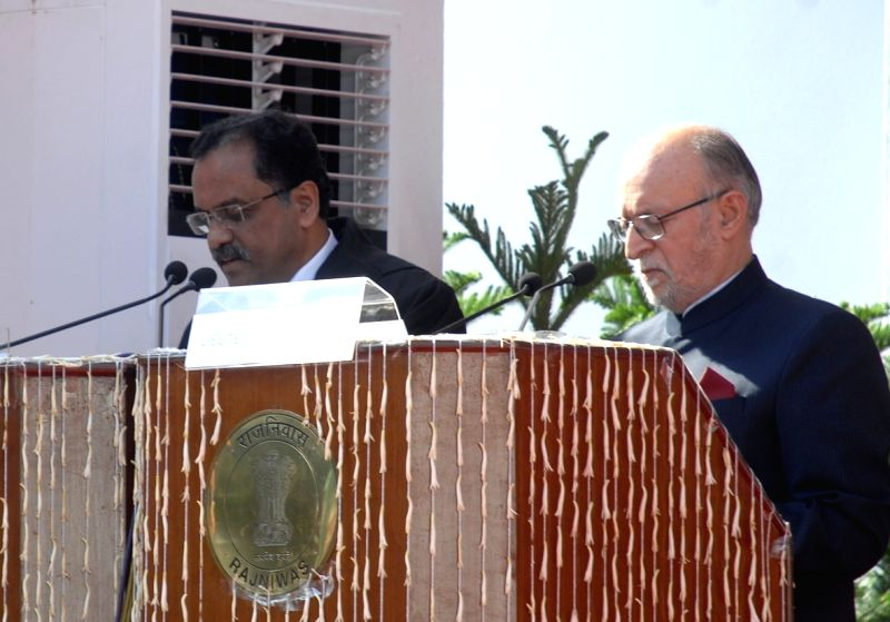 Delhi Lieutenant Governor Anil Baijal administers the oath of office as the Chief Justice of Delhi High Court to Justice Rajendra Menon at an oath taking ceremony at Raj Niwas, in New ... - Rajendra Menon