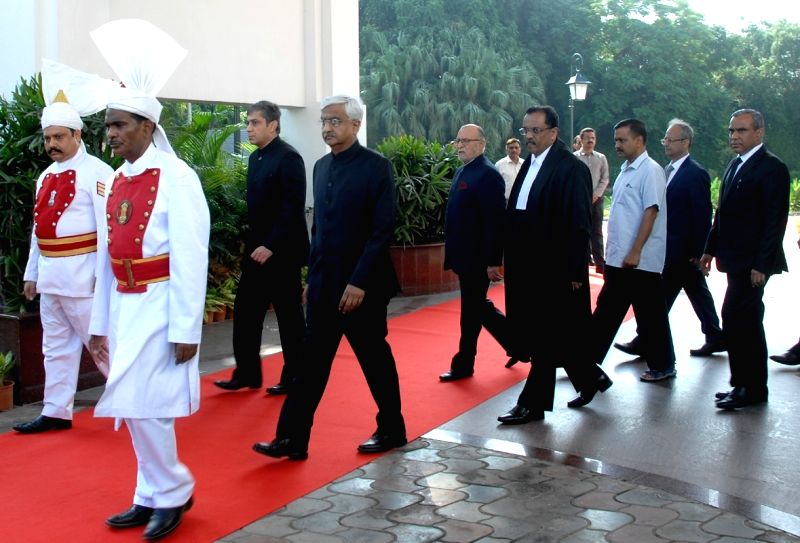 Delhi Lieutenant Governor Anil Baijal and Justice Rajendra Menon arrive at a ceremony where Menon took oath of office as the Chief Justice of Delhi High Court at Raj Niwas, in New Delhi, ... - Rajendra Menon