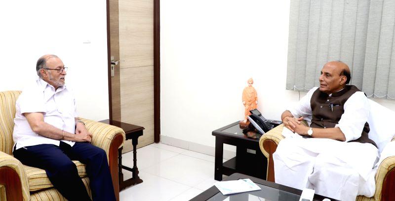Delhi Lieutenant Governor Anil Baijal calls on Union Home Minister Rajnath Singh, in New Delhi on June 14, 2018. - Rajnath Singh