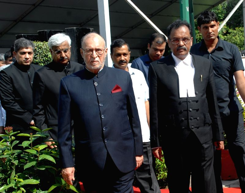 Delhi Lieutenant Governor Anil Baijal with the newly appointed Chief Justice of Delhi High Court Justice Rajendra Menon at Raj Niwas, in New Delhi, on Aug 9, 2018. - Rajendra Menon
