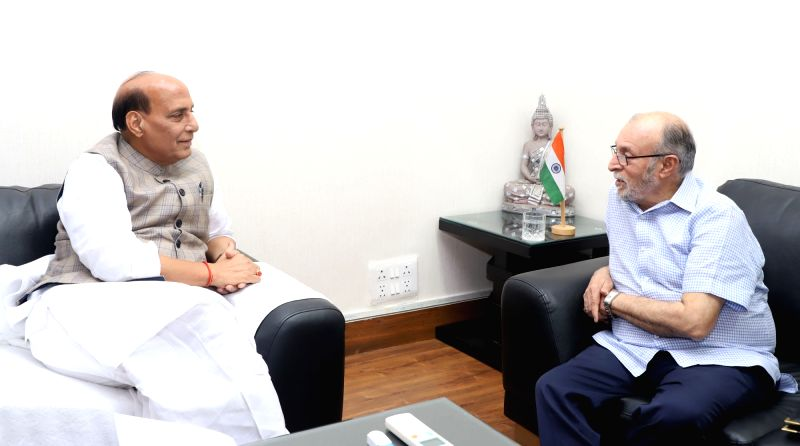 Delhi Lieutenant Governor (LG) Anil Baijal calls on Union Home Minister Rajnath Singh, in New Delhi on July 12, 2018. - Rajnath Singh