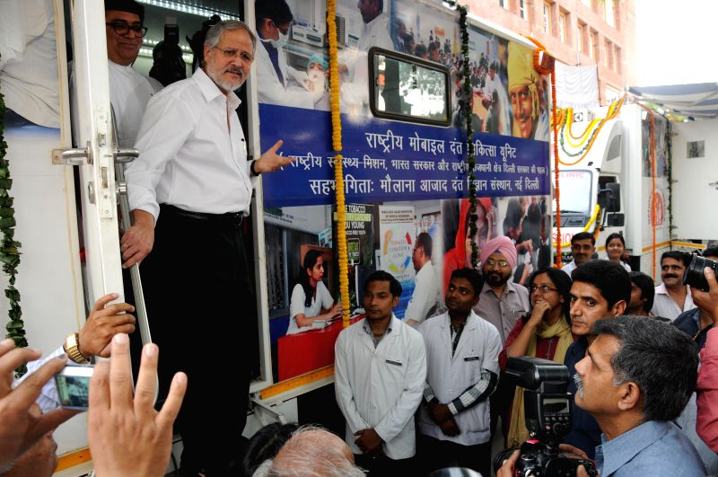 Delhi Lt. Governor Najeeb Jung during a programme to flags off Mobile Dental Clinics from Maulana Azad Institute of Dental Sciences in New Delhi on April 30, 2014.