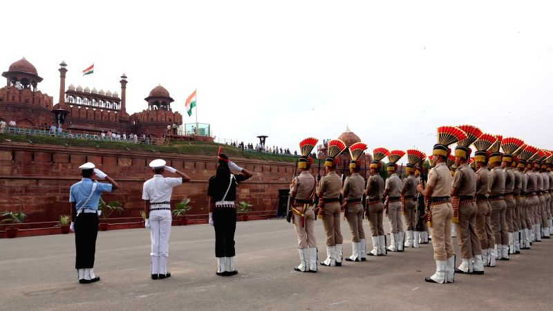Delhi Police contingent take part during the first full dress rehearsal for the Independence Day celebrations 2018 at Red Fort in New Delhi on on Aug 11, 2018.