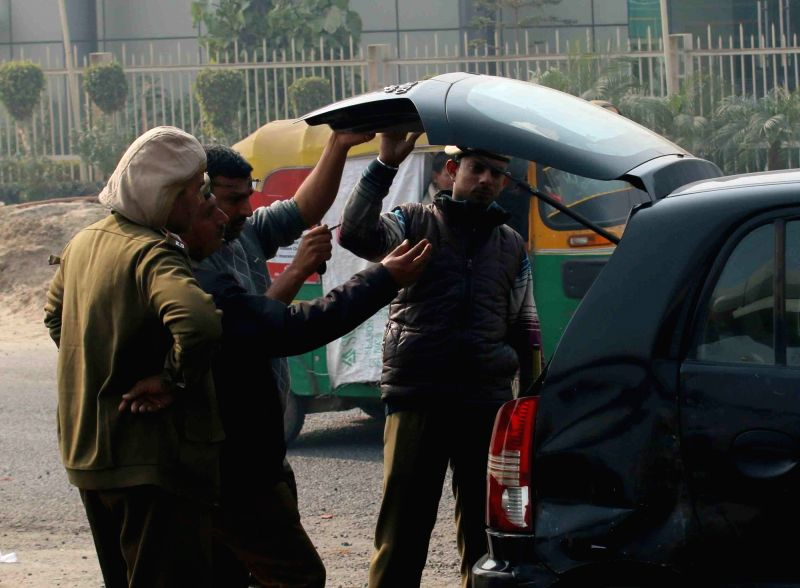 Delhi police personnel keep vigil as security is on high alert at Badarpur bodar ahead of Indian Republic Day celebration in New Delhi on Jan 23, 2016.