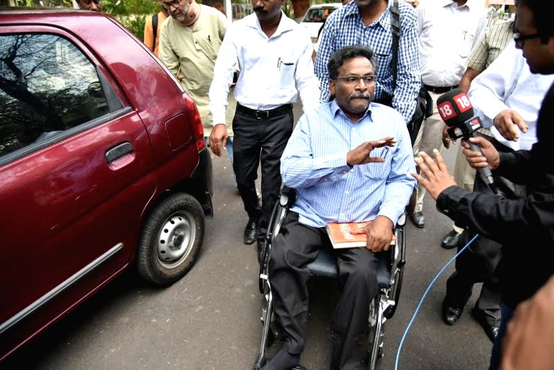 Delhi University professor GN Saibaba, accused of being associated with a front organisation of a banned Maoist outfit after being released from Nagpur Central Jail on April 7, 2016. Saibaba ...