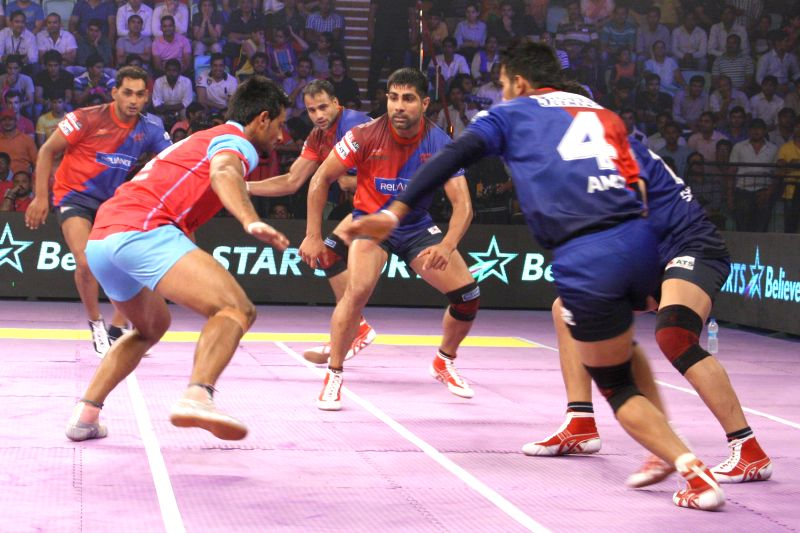 Delhi Vs Jaipur match,Pro-Kabaddi League, in New Delhi on August 05,2014.