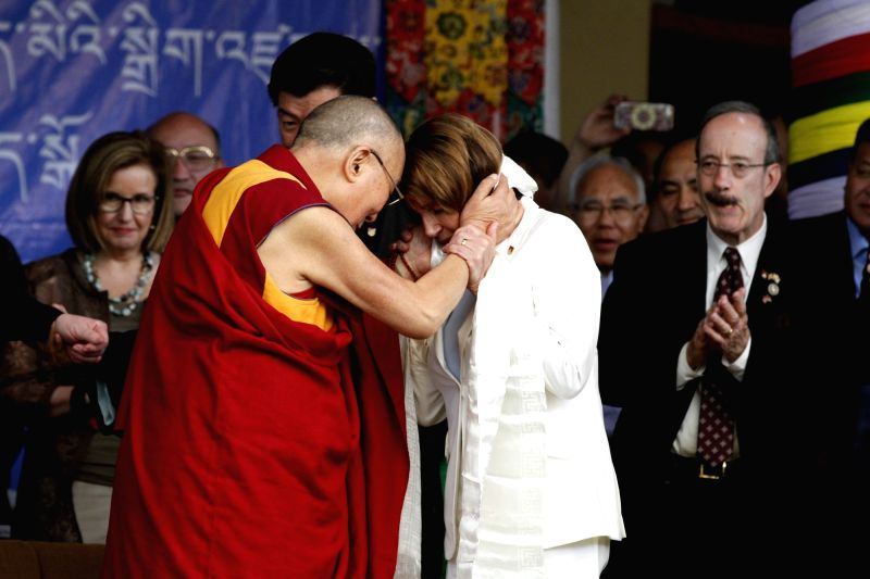 Democratic leader Nancy Pelosi meets Tibetan spiritual leader, the Dalai Lama at Tsugla Khang temple in Dharamsala on May 10, 2017.