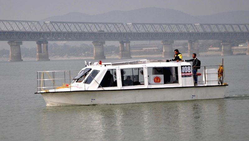 Demonstration of a solar-powered boat ambulance being carried out by Assam government's Mrityunjoy Emergency Response Services at Brahmaputra in Guwahati on Jan 28, 2018.
