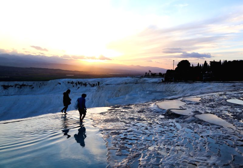 """Photo taken on Feb. 7, 2015 shows the view of Pamukkale. Pamukkale, meaning """"cotton castle"""" in Turkish, is a natural site in Denizli Province in ..."""