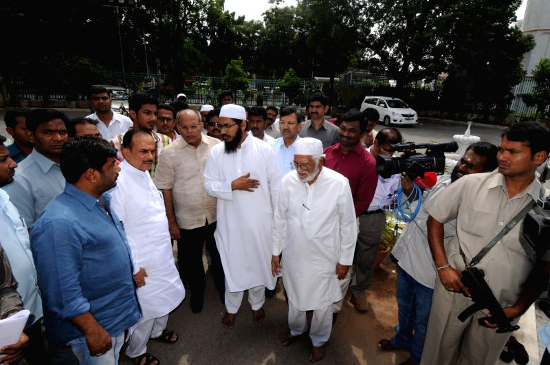 Deputy Chief Minister of Telangana Mohammad Mahmood Ali inspects Public Garden Mosque ahead of Ramzan in Hyderabad on June 20, 2014.