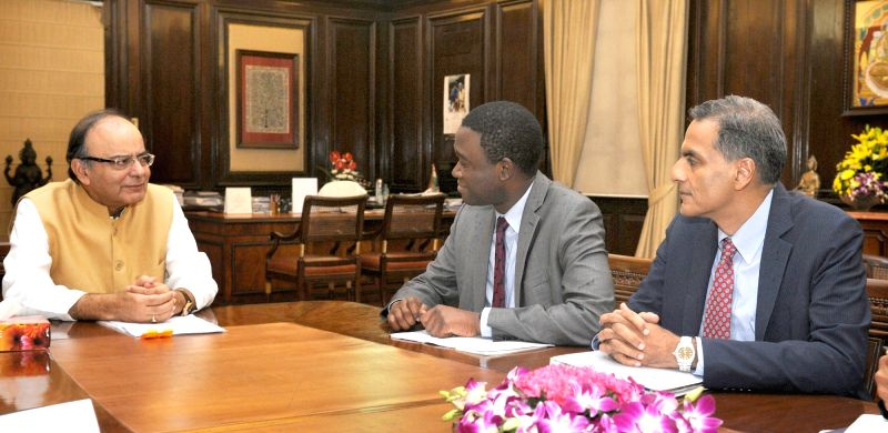 Deputy National Security Advisor for International Economics, USA, Adewale Adeyemo calls on the Union Minister for Finance and Corporate Affairs Arun Jaitley, in New Delhi on July 29, ... - Affairs Arun Jaitley and Richard Verma
