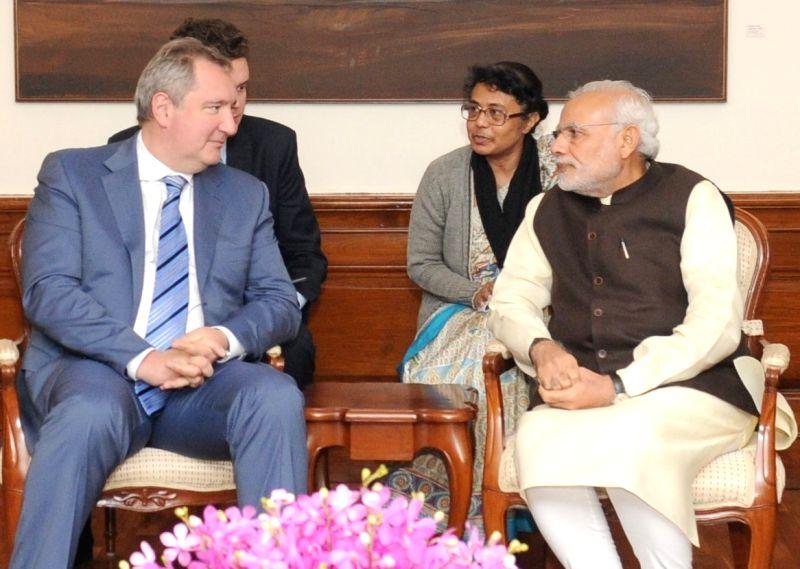 Deputy Prime Minister of Russia Dmitry Rogozin calls on Prime Minister Narendra Modi, in New Delhi on Dec 8, 2015. - Narendra Modi