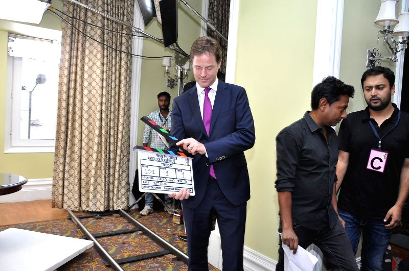 Deputy Prime Minister of U.K. Nick Clegg during the muhurat of Vistaar Film Fund`s and WSG Picture latest film Veda, in Mumbai, on Aug. 26, 2014.