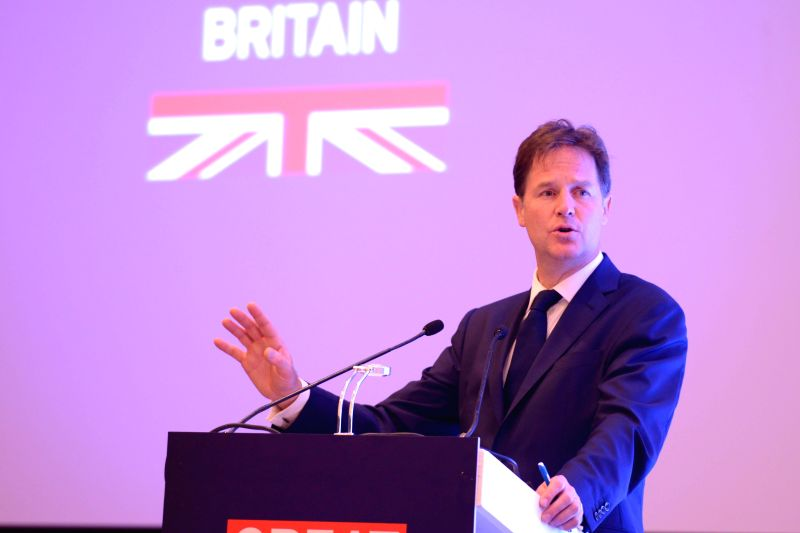 Deputy Prime Minister of United Kingdom Nick Clegg addresses during the 'UK - INDIA : Business is Great' conference in New Delhi on Aug 25, 2014.