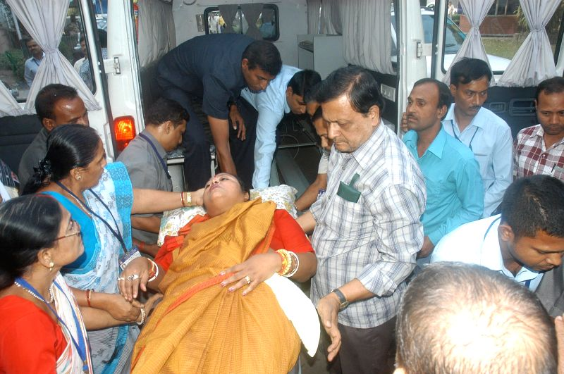 Deputy Speaker of the West Bengal Legislative Assembly Sonali Guha being shifted to a hospital after she fell sick in Kolkata on Nov. 20,  2014.