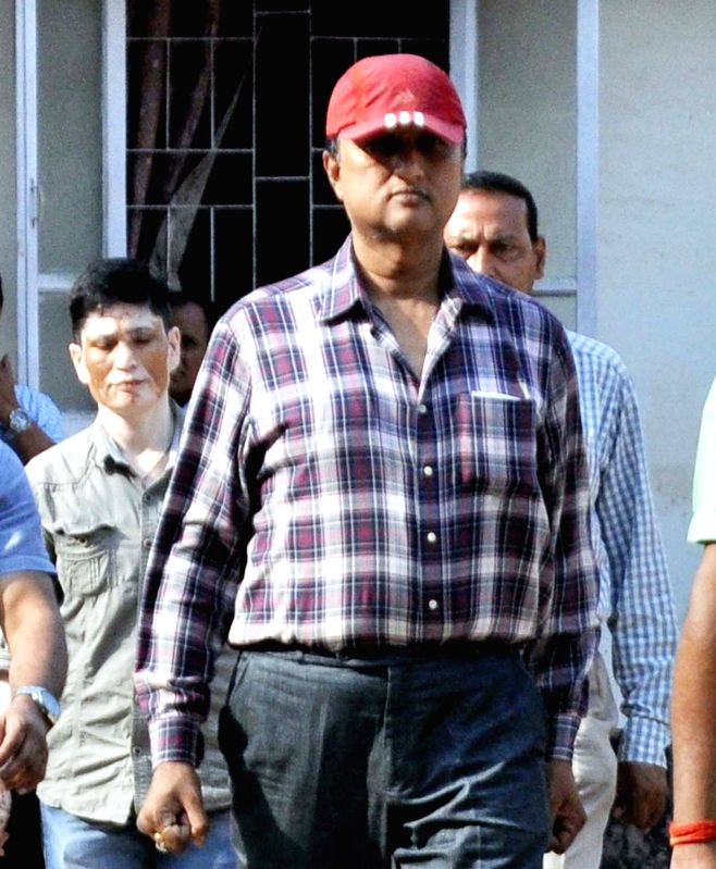 Deputy Superintend of Police (DSP) Anjan Bora who was arrested by CID branch of Assam Police comes out of CID headquarters in Guwahati on April 29, 2017. Bora posted an offensive post in ...