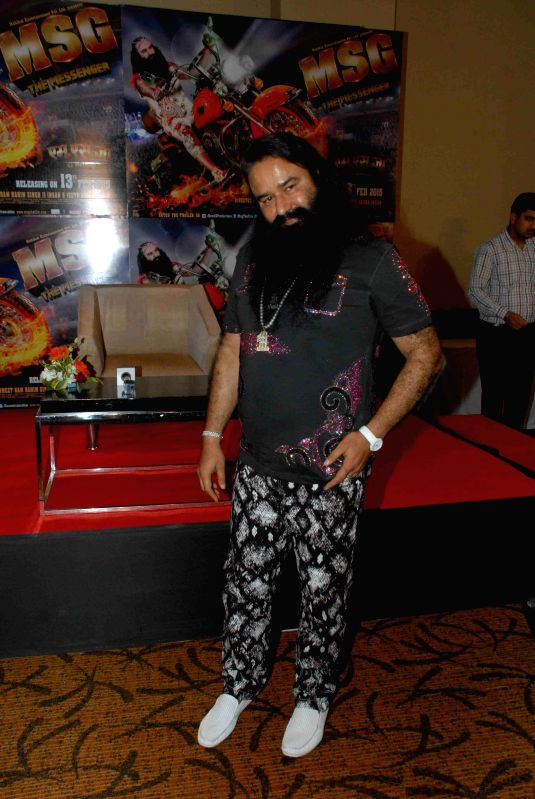 Dera Sacha Sauda spiritual head Gurmeet Ram Rahim Singh interact with media during the promotion of his film MSG: The Messenger of God, in Mumbai, on February 9, 2015.
