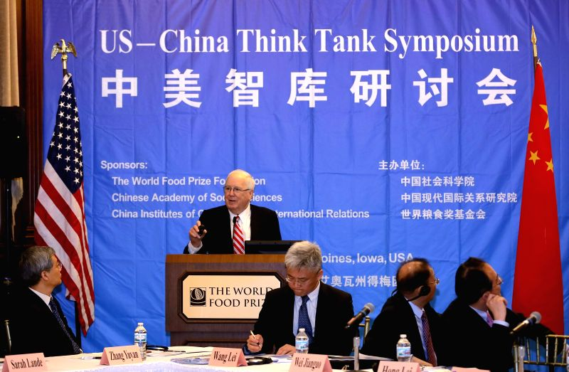 DES MOINES (U.S.), June 13, 2017 Kenneth Quinn, president of World Food Prize Foundation, addresses the U.S.-China Think Tank Symposium in Des Moines, the United States, on June 12, 2017. ...