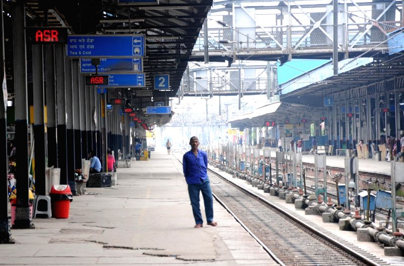 Deserted look of railway station as laborers changeover railway tracks to an electronic interlocking system instead of traditional levers, in Amritsar, on July 19, 2018.