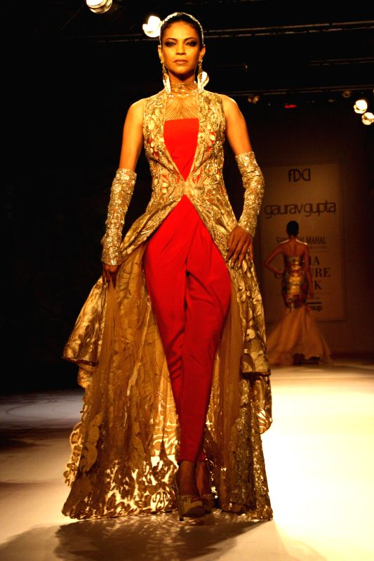 Designer Gaurav Gupta show at the India Couture Week 2014, in New Delhi on July 18.2014.