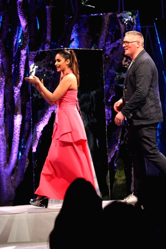 Designer Giles Deacon and Actress Ileana D'Cruz  walk on the ramp at British High Commissioner`s Residence`s, in New Delhi on 23rd April 2015. - Ileana D'Cruz