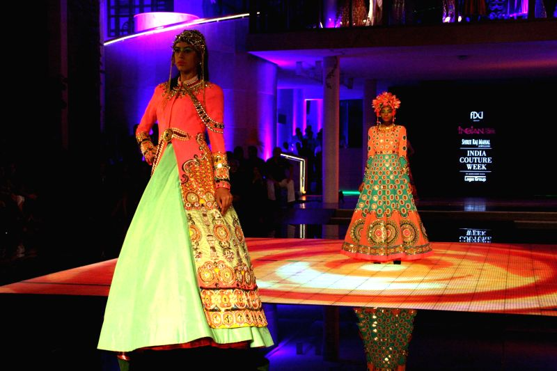 Designer Manish Arora's show at the India Couture Week 2014, in New Delhi on July 18.2014.