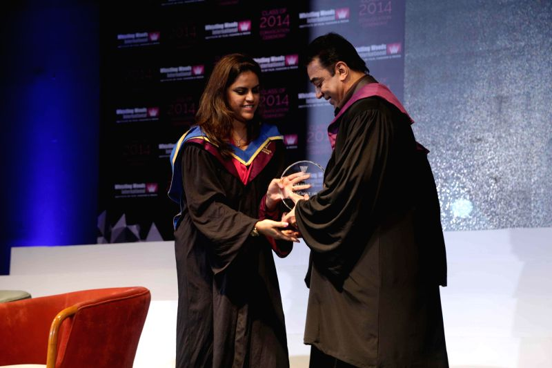 Designer Manish Ghai Puri and actor Kamal Hassan during Whistling Woods International's 7th Annual convocation in Mumbai on July 18, 2014. - Kamal Hassan