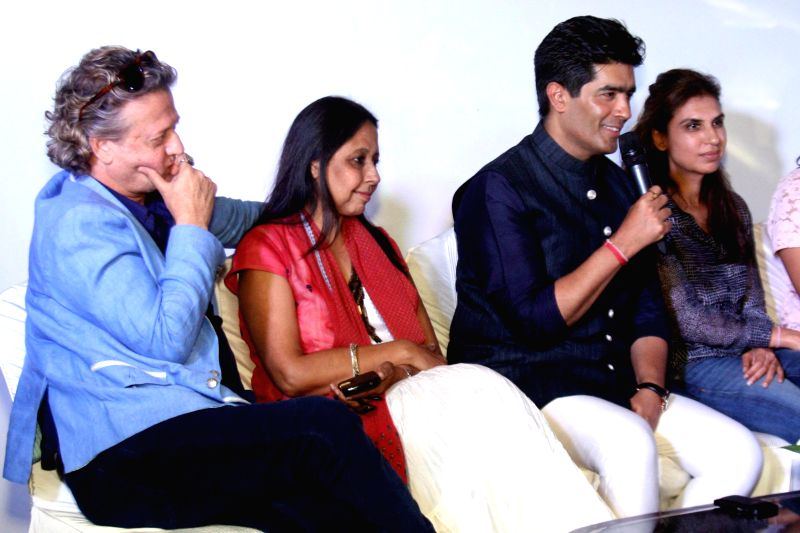 Designers Rohit Bal, Manish Malhotra and others during the preview of upcoming India Couture Week 2014 in New Delhi on June 19, 2014. - Rohit Bal and Manish Malhotra