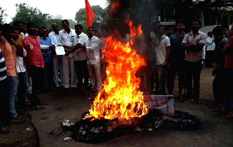 Deulgaon Raja: Members of the Maratha community call for a state-wide shutdown as they stage a demonstration demanding reservation for the community, at Deulgaon Raja in Buldhana district of ...