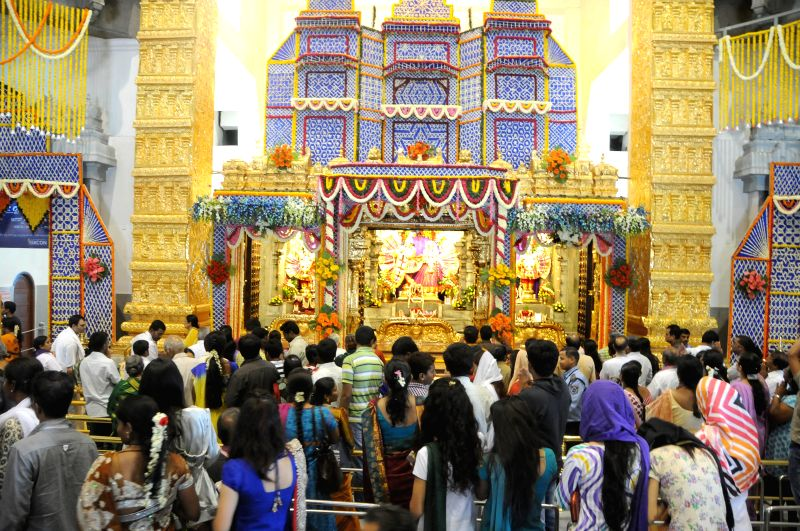 Devotees at ISKCON Temple on Krishna Janmastami in Bangalore on Aug 17, 2014.