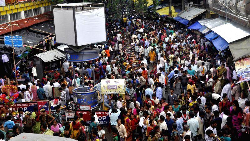Devotees during Ambubachi Mela, also known as Ambubasi festival in Guwahati on June 24, 2014.