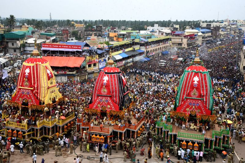 Devotees in large numbers participate in the Jagannath Rath Yatra celebrations, in Odisha's Puri on July 14, 2018. The nine-day festival includes Gundicha Yatra, Bahuda Yatra, Sunavesha, ...