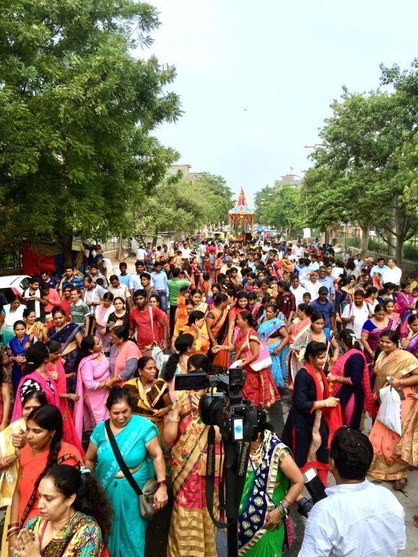 Devotees participate in Jagannath Rath Yatra organised by ISKCON in New Delhi on July 14, 2018.