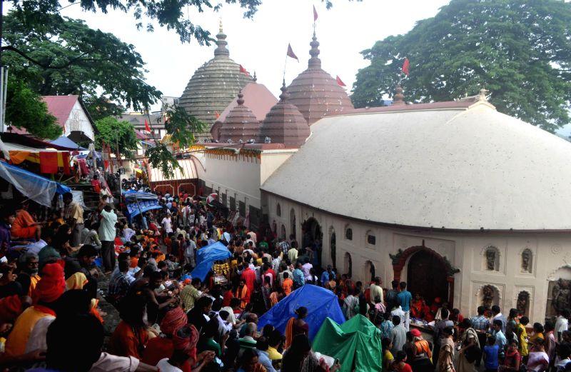 Devotees throng Kamakhya temple during Ambubachi Mela, also known as Ambubasi festival in Guwahati on June 24, 2014.