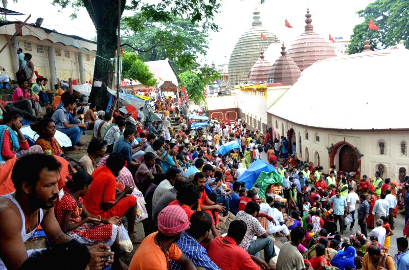 Devotees throng Kamakhya temple during Ambubachi Mela, also known as Ambubasi festival in Guwahati on June 26, 2014.