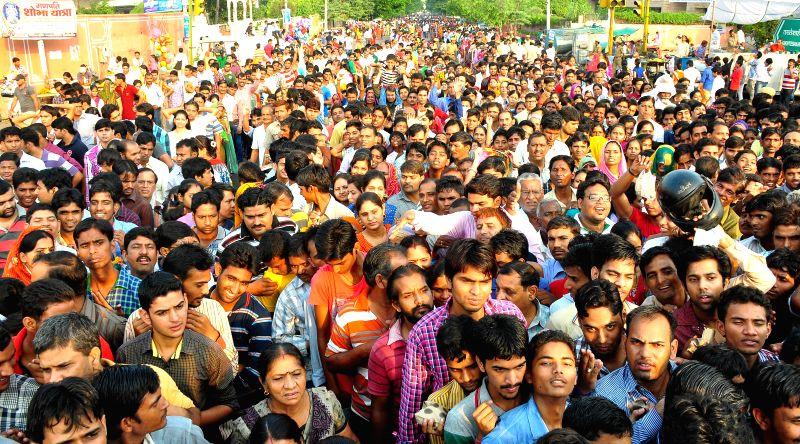 Devotees throng Moti Dungri Ganesh Temple on Ganesh Chaturthi in Jaipur on Aug 29, 2014.