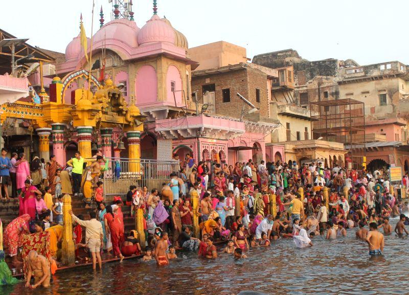 Devotees throng Vishram Ghat of Mathura on Ganga Dussehra on June 4, 2017.