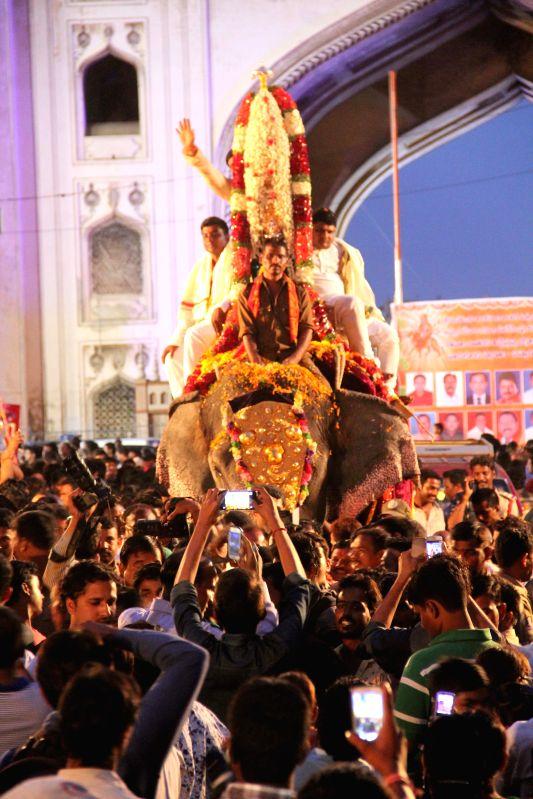 Devotees throng the streets of Hyderabad on the occasion of Mahankali Bonalu Jatara also known as Lashkar Bonalu.