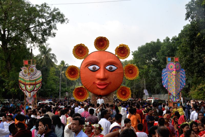 DHAKA, April 14, 2018 - People celebrate the Bengali New Year 1425 in Dhaka, Bangladesh on April 14, 2018.