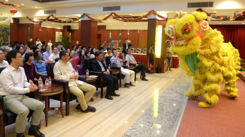 DHAKA, Aug. 6, 2016 - Chinese delegates watch the dragon dance at the summer camp at Chinese Embassy in Dhaka, Bangladesh, Aug. 6, 2016. The Chinese Embassy in Bangladesh organized a summer camp for ...
