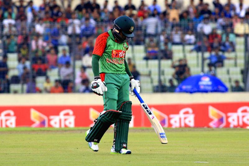 Dhaka (Bangladesh): Bangladesh batsman Mushfiqur Rahim leaves the field after getting out during the 1st ODI match between India and Bangladesh at Shere Bangla National Stadium in Mirpur, Dhaka, ... - Mushfiqur Rahim