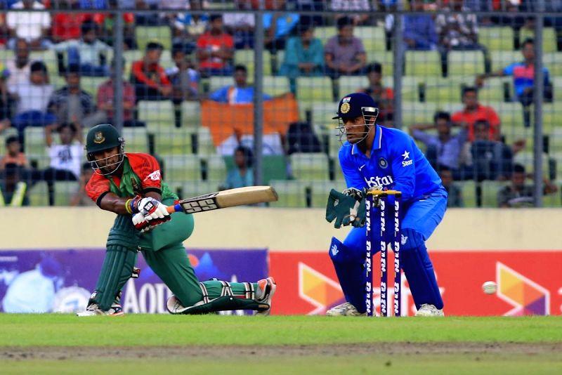 Dhaka (Bangladesh): Bangladesh batsman Sabbir Rahman in action during the 1st ODI match between India and Bangladesh at Shere Bangla National Stadium in Mirpur, Dhaka, Bangladesh on June 18, 2015. - Sabbir Rahman